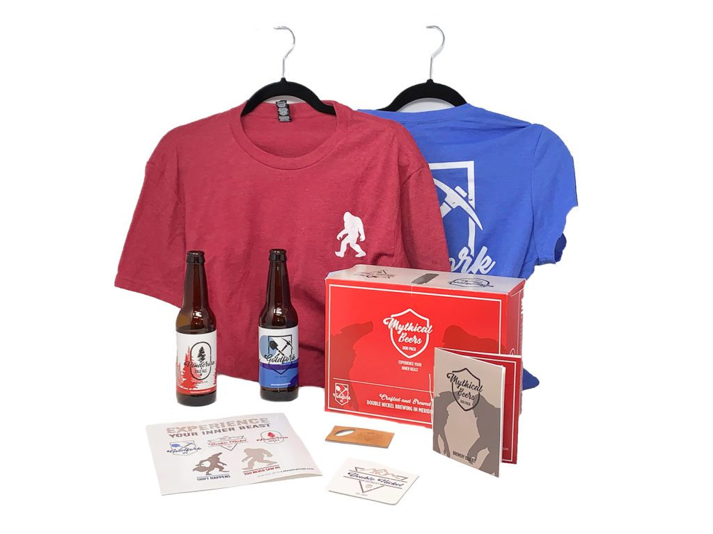 Microbrewery swag box - a custom-printed 12-pack box containing 2 ultra-soft t-shirts, bottle labels, stickers, a bottle opener, and a printed booklet